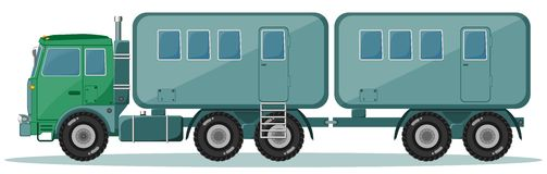 Truck with Trailer to Transport People, Vector Stock Images