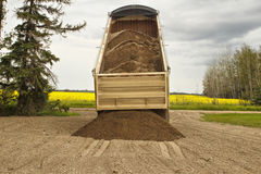 Truck trailer unloading gravel. A gravel truck trailer dumping a load of gravel onto a driveway with a yellow canola field in the background Stock Images