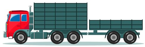Truck with trailer, Vector Illustration Stock Photo
