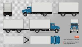 Truck with trailer vector mockup. Truck vector mockup. Isolated template of lorry with trailer on transparent background for vehicle branding, corporate stock illustration