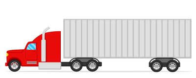 Truck with trailer on a white background. Trucker royalty free illustration