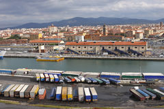 Truck Trailers Livorno Port Stock Photography