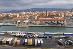 Truck Trailers Livorno Port stock photography
