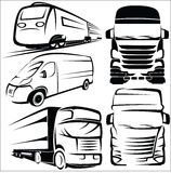 Truck, Train, Van symbol set Royalty Free Stock Photos