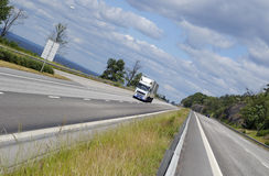 Truck transport on busy highway Royalty Free Stock Photo