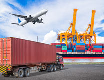 Truck transport container and cago plane flying above ship port Royalty Free Stock Photo