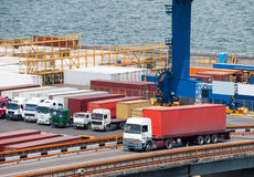 Truck transport container in port Royalty Free Stock Images