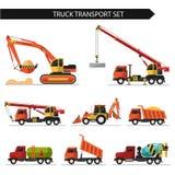 Truck transport. Flat style vector illustration of truck transport  on white background. Including concrete mixer, truck crane, bulldozer, gasoline tanker Stock Photography