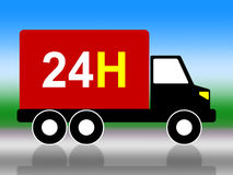 Truck Transport Indicates Twenty Four Hours And 24H. Transport 24H Showing Twenty Four Hours And All Hours Royalty Free Stock Photography