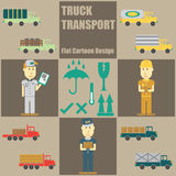 Truck Transport People Flat Cartoon Royalty Free Stock Image