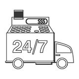 24 7 truck transport service. Isolated  illustration Royalty Free Stock Photography