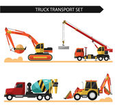 Truck transport set. Four icons of truck transport isolated on white background. Including concrete mixer, truck crane, bulldozer, excavator. Flat style vector Royalty Free Stock Photo
