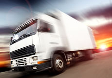 Truck transport and speed Royalty Free Stock Image