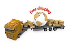 Truck transportation parcels and the planet Earth Stock Images