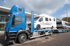 Truck transporter carrying RVs Stock Photography
