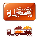 Truck transporting the cars. Vector icon vector illustration