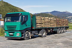 Truck transporting logs Stock Photo