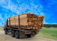 Truck transporting logs. Rear view Royalty Free Stock Photos