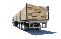 Truck transporting lumber. Rear view Stock Photo