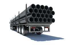Truck transporting pipe Stock Photos