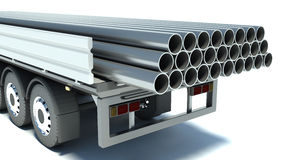 Truck transporting pipe.  on a white background Stock Images