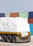 Truck Transporting In Port For Cargo. Royalty Free Stock Photos
