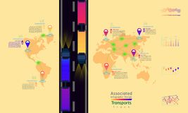 Truck transports associated company factory world map mark point infographic design with summary graph. Truck transports associated company factory world map royalty free illustration