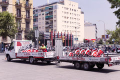 Truck transports Bicing city bikes in Barcelona Stock Images
