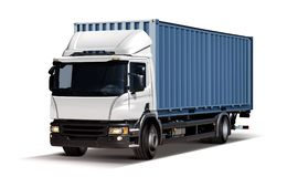 Truck transports container isolated stock photography
