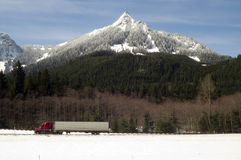 Truck Transports Goods Over Road Through North Cascades Washingt Stock Photos