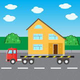 Truck transports house Royalty Free Stock Photo