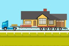 Truck with house. Truck transports the house to a new place. Vector illustration Royalty Free Stock Photo