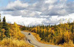 Truck Travels Road Alaska Wilderness Fall Color Two Lane Highway Royalty Free Stock Photography
