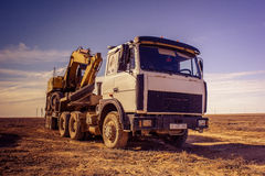 Truck trawl. Car truck with a trawl, dredge luck in the desert Betpakdala stock photo