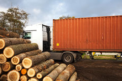 A truck with tree trunks 2 Royalty Free Stock Photo