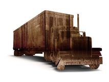 Truck truck concept with wood texture 3d rendering on white back stock illustration