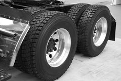 Truck tyre. Black and white photo of truck tyre Stock Images