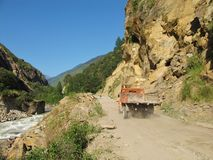 Truck on the unfinished from Nepal to Tibet Stock Image