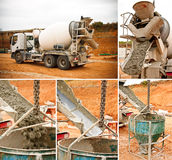 truck unloading cement Royalty Free Stock Photos