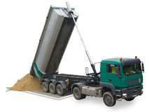 Truck unloading sand. On a picture. The picture has a transparent background Stock Photo