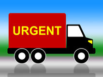 Truck Urgent Shows Critical Freight And Transporting Stock Photo