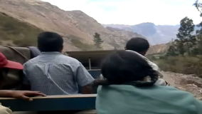 Truck used as a bus between Ollantaytambo and the more remote villages in the Andean Mountains, Peru stock footage