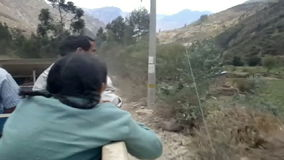 Truck used as a bus between Ollantaytambo and the more remote villages in the Andean Mountains, Peru stock video