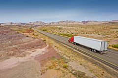 Truck on the Utah Highway. Truck on the Utah Wilderness Highway. American Highway and Transportation System. Utah, USA Royalty Free Stock Photo