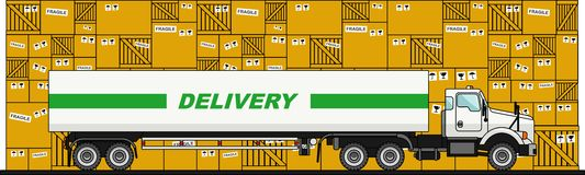 Truck, van and boxes in flat style. Vector illustration. Royalty Free Stock Images