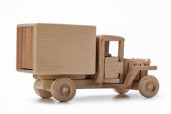 Truck van car toy made of natural wood, side view. royalty free stock photo