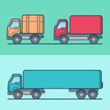 Truck van road transport set. Linear stroke outlin Stock Photos