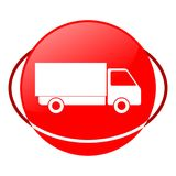 Truck vector illustration, Red icon Royalty Free Stock Image