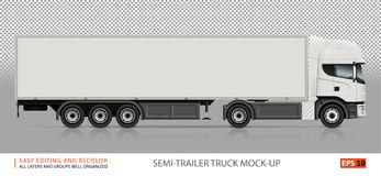 Semi-trailer truck veсtor mockup. Truck vector mock-up. Isolated template of semi-trailer truck on transparent background. White delivery lorry from side view Stock Images