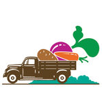 Truck with vegetable - carrot, potato, beet Royalty Free Stock Photography